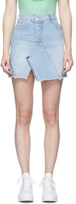Sjyp Blue Asymmetric Denim Miniskirt