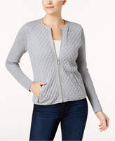 Charter Club Cotton Quilted Zip-Front Cardigan, Created for Macy's