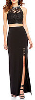 Xtraordinary Beaded High Neck Illusion Lace Top Two-Piece Long Dress