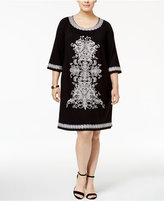 INC International Concepts Plus Size Embroidered Shift Dress, Only at Macy's