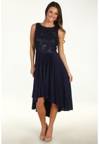 Suzi Chin for Maggy Boutique - Sleeveless Lace Silky Knit Dress (Midnight/Gunmetal/Night) - Apparel