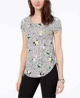 Alfani Printed Knot Top, Created For Macy's