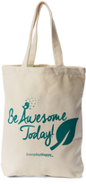 Green 'Be Awesome Today' Canvas Tote