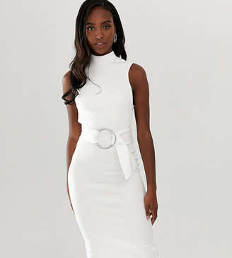 Asos DESIGN Tall minimal belted midi dress with ring detail