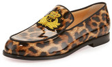 Christian Louboutin Laperouza Patent Crest Red Sole Loafer, Leopard Print