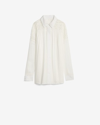 Express Eyelet Lace Pleated Shirt