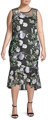 Calvin Klein Plus Floral Embroidered Illusion Midi Dress