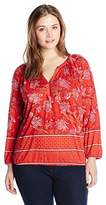 Lucky Brand Women's Plus-Size Watercolor Floral Top