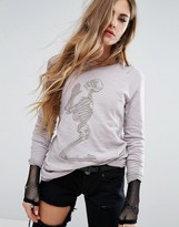 Religion Long Sleeve Top With Embroidered Skeleton