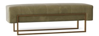 Caracole Classic Upholstered Bench Body Fabric: Green Apple Velvet