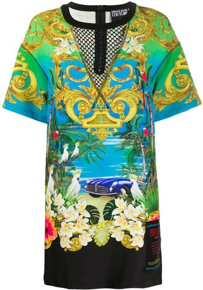 Versace mesh-yoke tropical print T-shirt dress