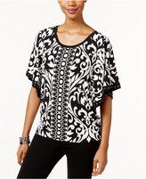 JM Collection Petite Printed Butterfly-Sleeve Top, Only at Macy's