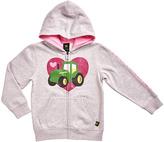 John Deere Gray & Pink Heart Tractor Zip-Up Hoodie - Girls
