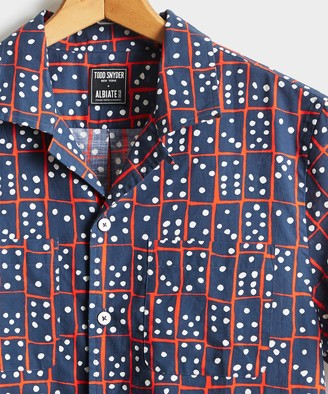 Todd Snyder Limited Edition Domino Print Camp Collar Short Sleeve Shirt in Navy