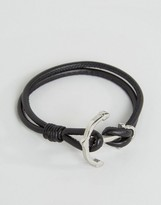 Seven London Anchor Leather Bracelet In Black