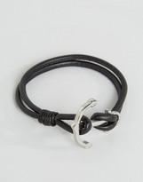 Seven London Anchor Leather Bracelet In Black