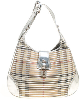 Burberry Silver Leather and Nova Check PVC Brooke Hobo
