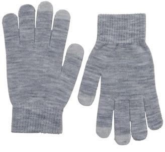 Only Womens Aline Two Pack Knit Finger Touch Gloves Light Grey Melange