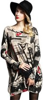 YOUJIA Women's Bat Sleeve Sweater Loose Printing Pullover