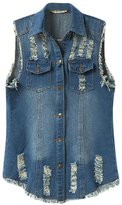 ACE SHOCK Women's Girls Sleeveless Relaxed Denim Vest Jeans Jacket Plus Size (L)