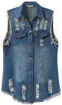 ACE SHOCK Women's Girls Sleeveless Relaxed Denim Vest Jeans Jacket Plus Size