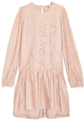 No.21 Lace Sleeve A-Line Dress in Powder Rose