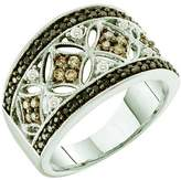 DazzlingRock Collection 0.50 Carat (ctw) 14k White Gold Round White, Brown & Black Diamond Ladies Right Hand Fashion Band
