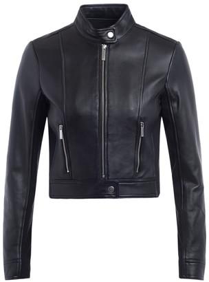 Michael Kors Ponti Combo Short Jacket In Black Leather
