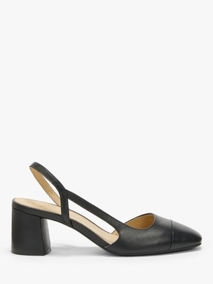 John Lewis & Partners Bonnie Leather Low Heel Slingback Court Shoes, Black