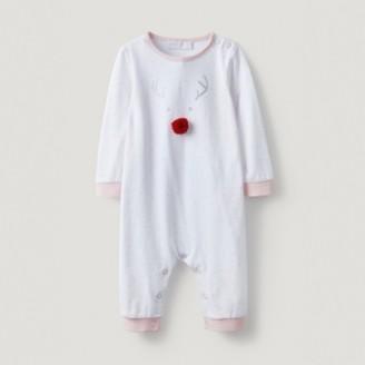 The White Company Jingles Reindeer Pom-Pom Sleepsuit , White, 12-18mths