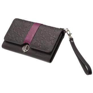 Black & Purple English Leather Clutch Bag, Travel Wallet