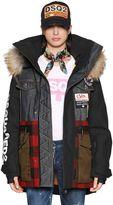 DSQUARED2 Hooded Patchwork Ski Jacket W/ Fur