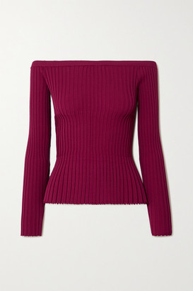 Altuzarra Sweetwater Ribbed-knit Off-the-shoulder Top - Magenta