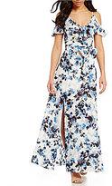 Eliza J Floral Printed Cold-Shoulder Maxi Dress