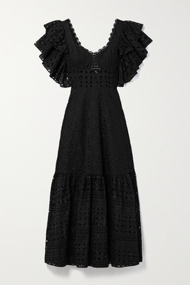 Charo Ruiz Ibiza Linda Ruffled Broderie Anglaise Cotton-blend Midi Dress - Black