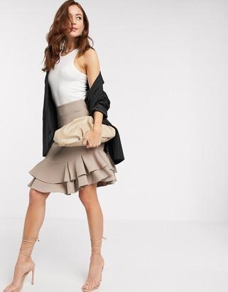 Closet London Closet mini ruffle skirt in stone