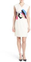 Ellen Tracy Placed Print Cap Sleeve Sheath Dress (Petite)