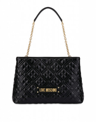 Love Moschino Quilted Laminated Shopper Woman Black Size U It - (one Size Us)