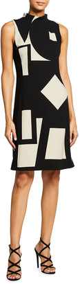 Akris Geometric Print Wool Sheath Dress