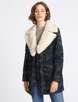 Marks and Spencer Pure Cotton Printed Shearling Parka