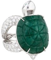 Boucheron 18K Diamond Aventurine Tortue Ring