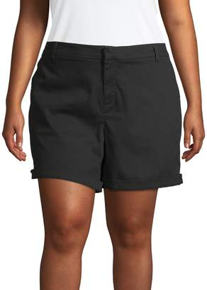 Lord & Taylor Plus Folded Cuff Shorts