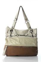 B. Makowsky Beige Gold Metallic Leather Silver Hardware Shoulder Handbag