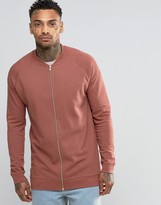 Asos Longline Jersey Bomber Jacket In Washed Red