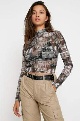 Urban Outfitters Rome Print Mesh Funnel Neck Top - black XS at