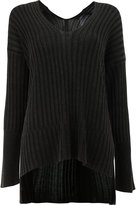 Ilaria Nistri high-low hem ribbed knitted top