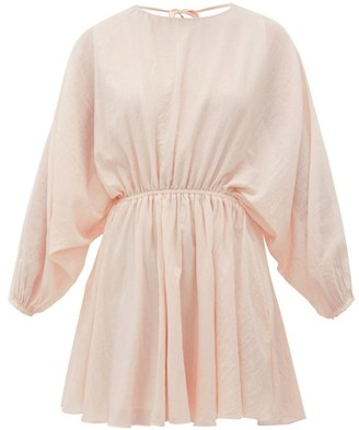 Loup Charmant Kitta Batwing-sleeve Cotton Mini Dress - Pink