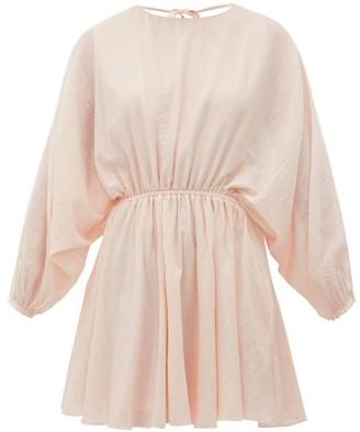 Loup Charmant Kitta Batwing-sleeve Cotton Mini Dress - Womens - Pink