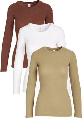 Pima Apparel Women's Tee Shirts Chocolate, - Chocolate, White & Olive Long-Sleeve Tee Set - Women