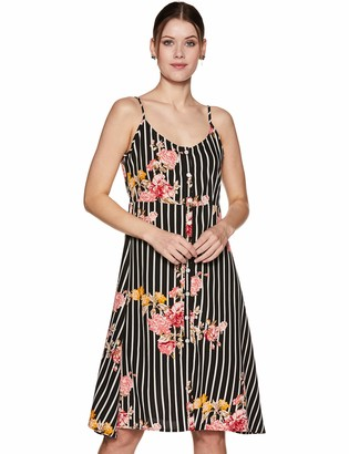 Oasis Wild Beachwear Women's Bodice Floral Printed Tank Dress with Button Detailing & Spaghetti Straps (Small